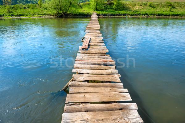 Old wooden bridge through the river Stock photo © vapi