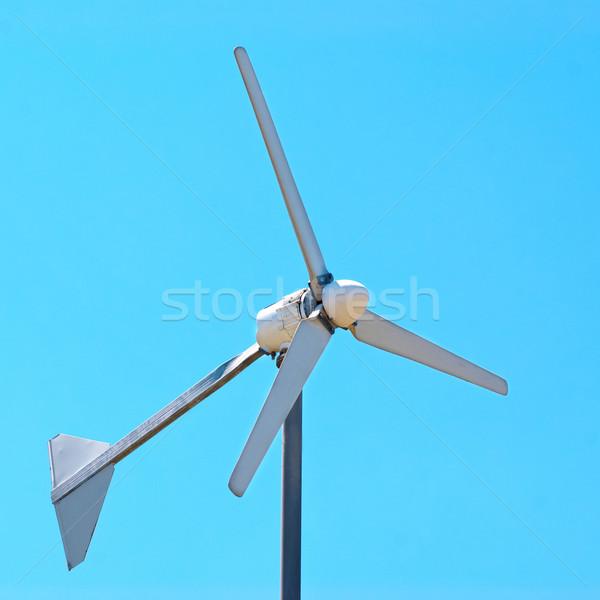 Szél generátor elektromos turbina kék ég fény Stock fotó © vapi