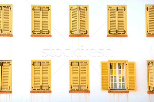 многие закрыто Windows жалюзи белый стены Сток-фото © vapi