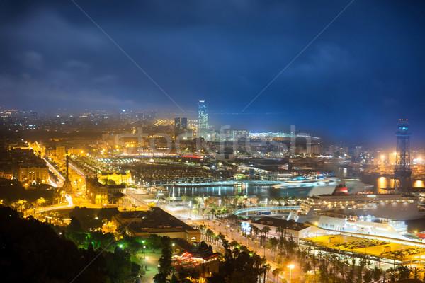 şehir Barcelona gece görmek liman Cityscape Stok fotoğraf © vapi