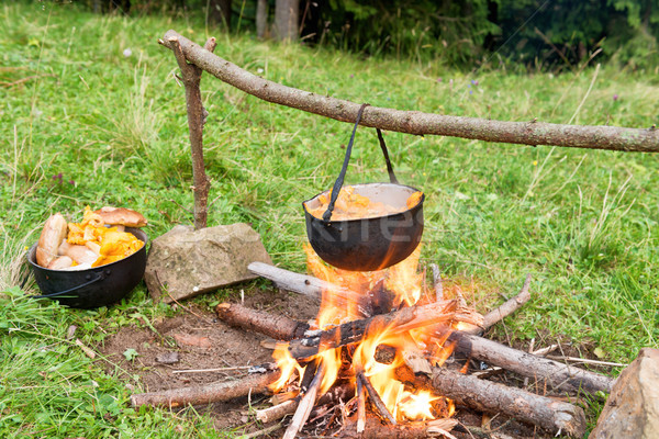 Cauldron with cooking boiling on the fire Stock photo © vapi