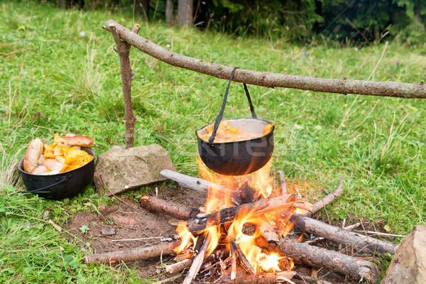 Kocioł gotowania ognia jadalny grzyby zewnątrz Zdjęcia stock © vapi