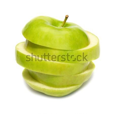 Szeletel zöld alma izolált fehér gyümölcs Stock fotó © vapi