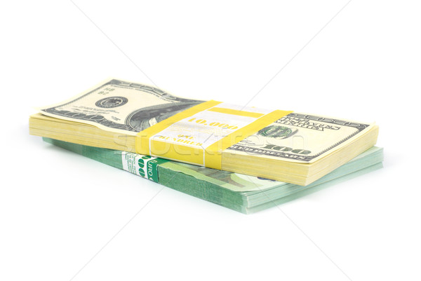 Boglya pénz pénz dollár eurók izolált Stock fotó © vapi
