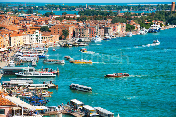 View from Campanile bell tower on boats and ships in Grand Canal Stock photo © vapi