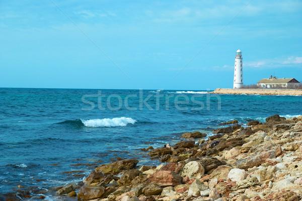 Latarni wybrzeża starych morza burzy fale Zdjęcia stock © vapi
