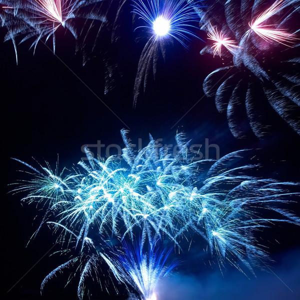 Stock fotó: Színes · tűzijáték · fekete · égbolt · víz · boldog