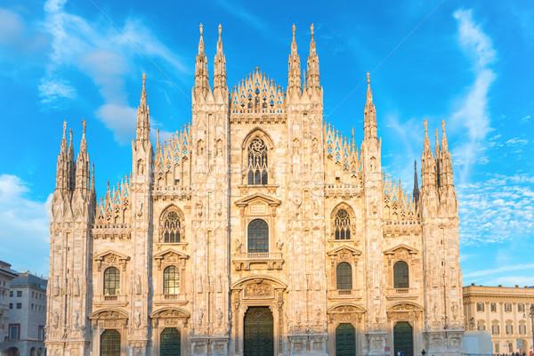 Pôr do sol ver milan catedral famoso Foto stock © vapi