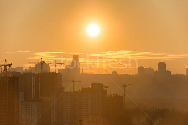 Zonsondergang stad panoramisch silhouet gebouwen Stockfoto © vapi