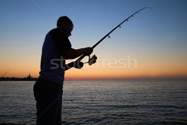 Halász halfajok tó sziluett naplemente férfi Stock fotó © vapi
