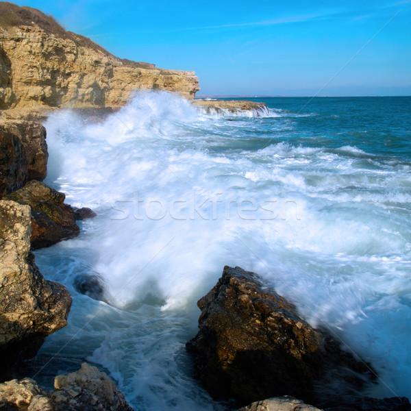 Foto stock: Grande · ondas · costa · mar · espuma · praia