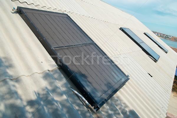 太陽 水 加熱 家 屋根 空 ストックフォト © vapi
