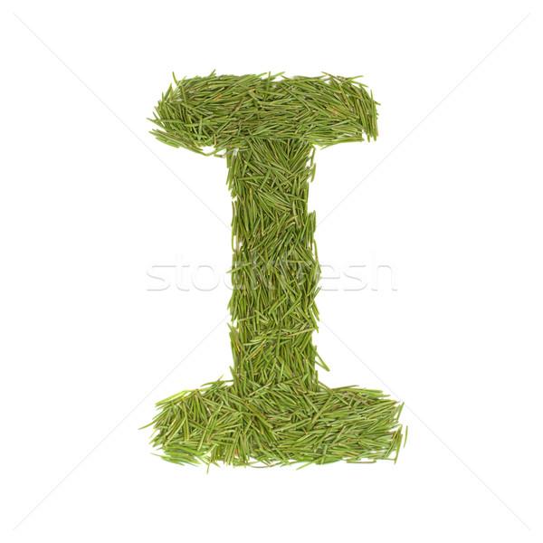 Yeşil alfabe mektup i yalıtılmış beyaz bahar Stok fotoğraf © vapi
