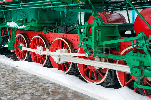 Old steam locomotive wheels Stock photo © vapi