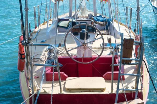 Kormánykerék jacht kék tenger víz sport Stock fotó © vapi