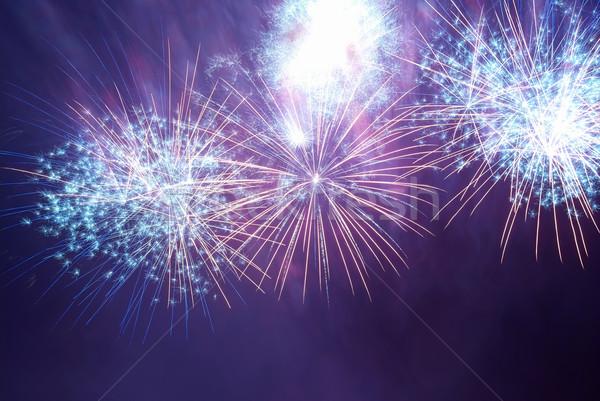 Colorido fogos de artifício azul roxo preto céu Foto stock © vapi