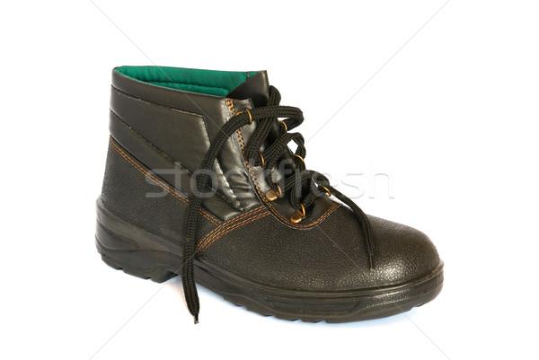 Stock photo: Single black boot isolated on white.