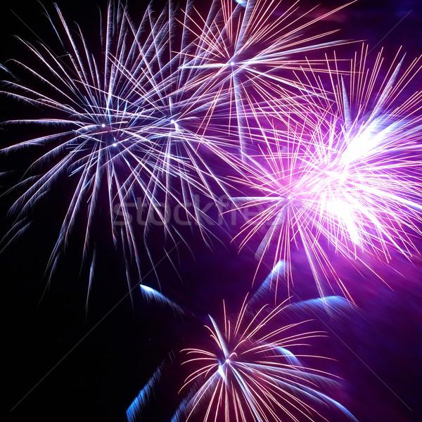 Coloré feux d'artifice noir ciel feu lumière Photo stock © vapi