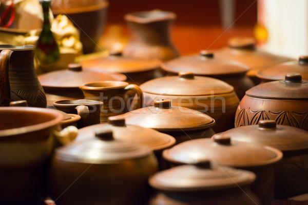 Ceramic pots from the clay Stock photo © vapi