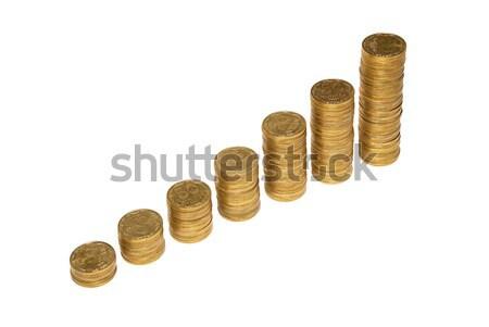 Stock fotó: Oszlop · arany · érmék · izolált · fehér · üzlet