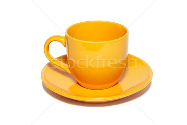 оранжевый керамической Кубок блюдце изолированный белый Сток-фото © vapi