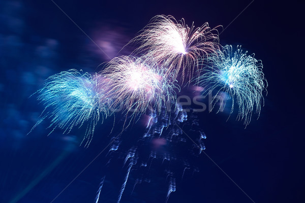 Blue colorful fireworks Stock photo © vapi