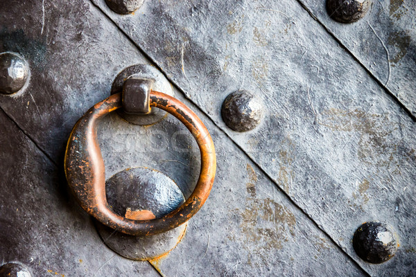 Old black door with ring knocker  Stock photo © vapi