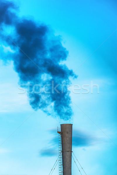 Industriële zwarte giftig rook energiecentrale Stockfoto © vapi