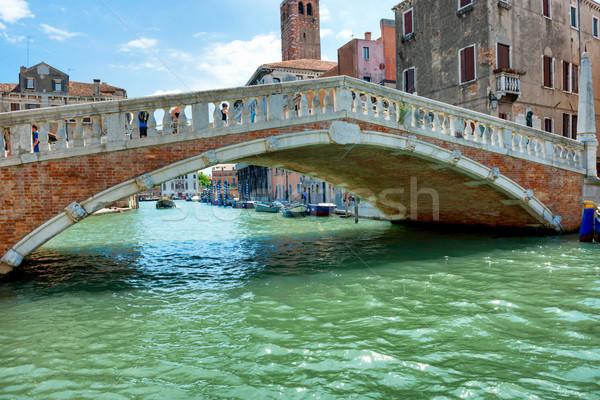 Brug kanaal gebouw stad zee Blauw Stockfoto © vapi