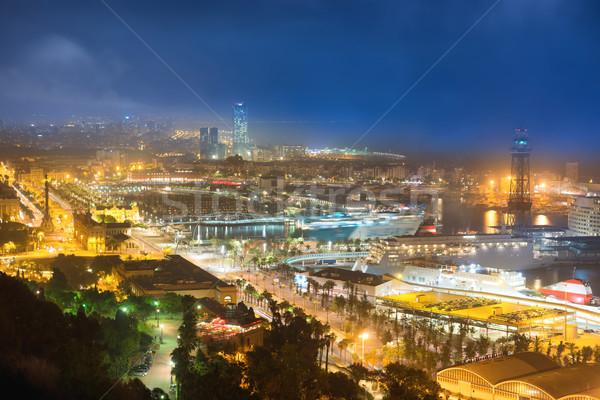 Stock fotó: Város · Barcelona · éjszaka · kilátás · kikötő · városkép