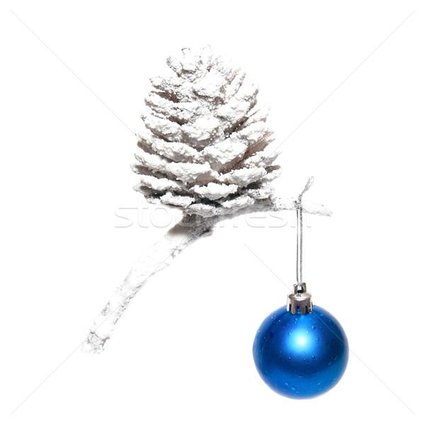 Рождества снега конус синий безделушка изолированный Сток-фото © vapi