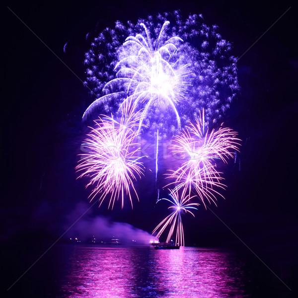 Azul fogos de artifício colorido preto céu feliz Foto stock © vapi