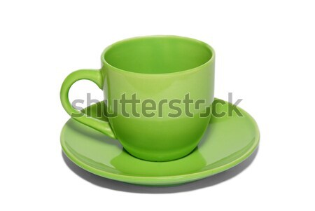Verde tazza da tè piattino isolato bianco natura Foto d'archivio © vapi