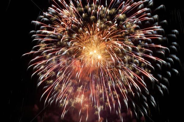 Színes ünnep tűzijáték piros fekete égbolt Stock fotó © vapi