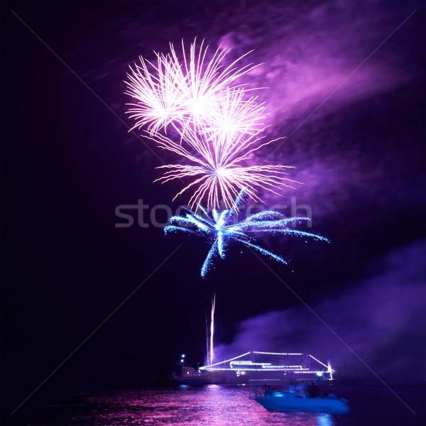 Blue colorful fireworks Stock photo © vapi