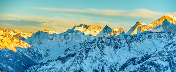 Panorama of mountains peaks at sunset Stock photo © vapi