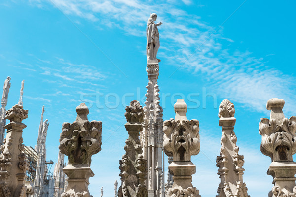 Statues on the roof of famous Milan Cathedral Duomo Stock photo © vapi