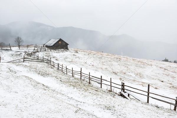 Zdjęcia stock: Domu · biały · zimą · góry · mały · wiejski
