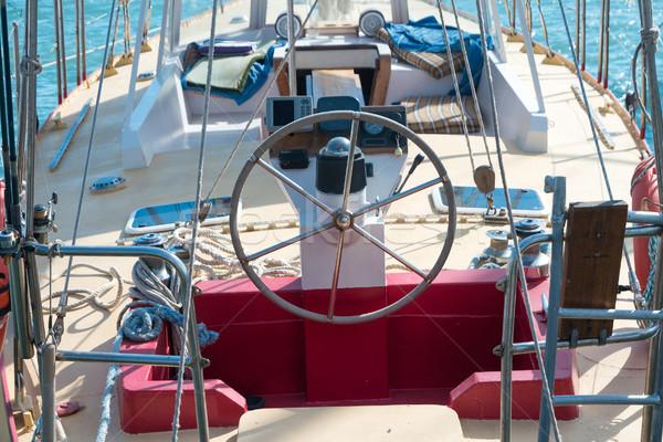 Steering wheel on the yacht Stock photo © vapi