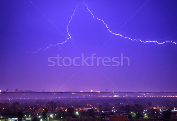 Tempesta fulmini città buio notte drammatico Foto d'archivio © vapi