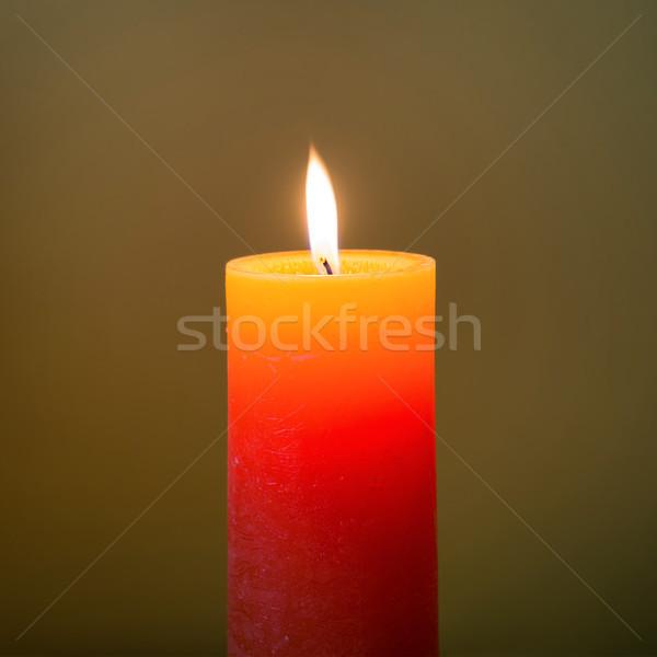 Zdjęcia stock: Świeca · świetle · płomień · ciemne · miękkie · tle
