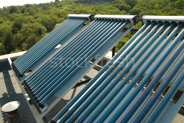 Vakum güneş su ısıtma ev çatı Stok fotoğraf © vapi