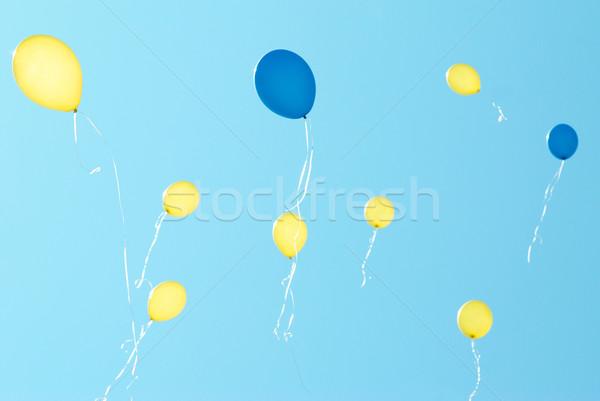 Foto stock: Balões · blue · sky · feliz · esportes · projeto
