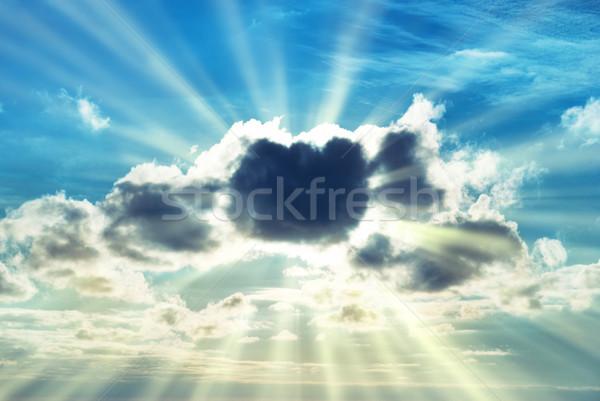 Beautiful blue sky with sunbeams Stock photo © vapi