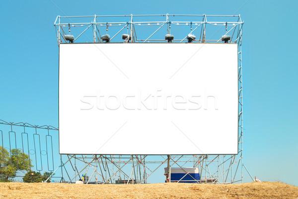 Stock fotó: üres · óriásplakát · kék · ég · út · televízió · űr