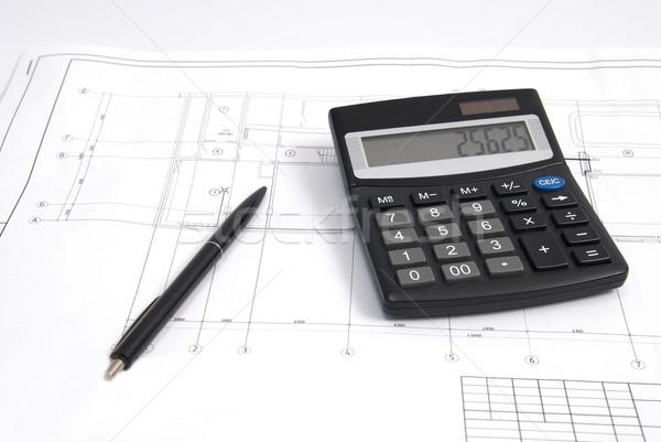 Kalkulator pióro rysunek pracy inżynierii wyposażenie Zdjęcia stock © vapi