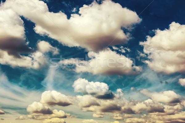 Beyaz kabarık bulutlar mavi gökyüzü doğa gibi Stok fotoğraf © vapi