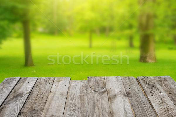 Stockfoto: Houten · tafel · groene · bokeh · lege · houten