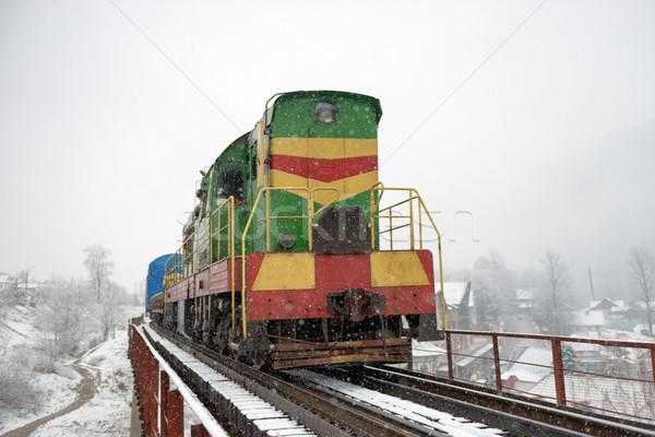 Locomotief vracht brug winter bos bomen Stockfoto © vapi
