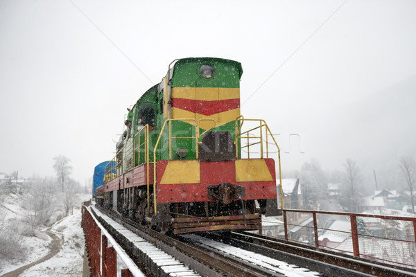 Locomotive fret pont hiver forêt arbres Photo stock © vapi